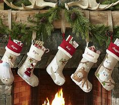 Love Pottery Barn... this collection also has a wonderful 'doves' stocking! Woodland Stocking Collection #pbkids
