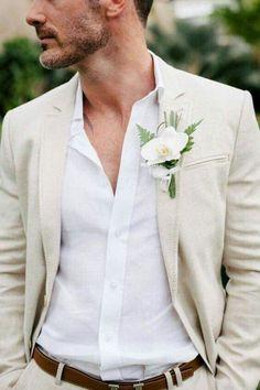 khaki grooms suit
