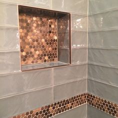Bathroom focal point tile - Brushed Copper Rounds Metal Mosaic Tile