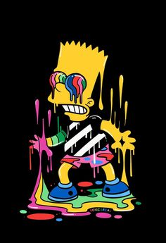 Fondos de Pantalla Para Celular - Bart - Trippin', The Simpsons - Wallpaper World Cartoon Cartoon, Dope Cartoon Art, Cartoon Kunst, Graffiti Wallpaper, Trippy Wallpaper, Sad Wallpaper, Simpsons Drawings, Simpsons Art, Cartoon Drawings