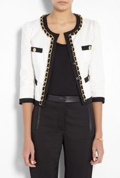 Moschino Cheap & Chic White Chain Detail Cotton Jacket.