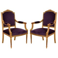 Pair Of Antique Gilded Louis XVI Style Chairs