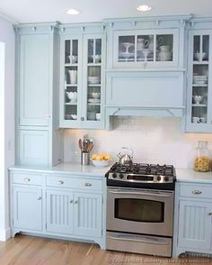 Traditional Blue Kitchen Cabinets #03 (Crown-Point.com, Kitchen-Design-Ideas.org)