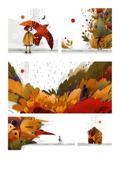 Autumn on Behance. Art and illustration Children's Book Illustration, Digital Illustration, Book Design, Book Cover Design, Plakat Design, Illustrations And Posters, Storyboard, Vector Art, Book Art