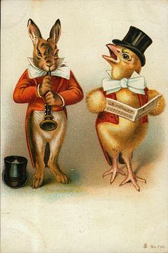 vintage Easter card. rabbit and chick playing music.