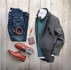 Outfit grid - Jacket, jeans and Italian calfskin belt