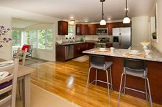 Kitchen/Dining Room/Sun Room - kitchen is too large, but like the concept Room Kitchen, Kitchen Dining, Dining Room, Real Estate Photography, Sun Room, Beautiful Space, Staging, Modeling, Concept
