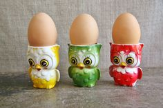 What a hoot! Trio of Owl Ceramic Egg Cups  such a cute addition by FoundByHer, $18.00