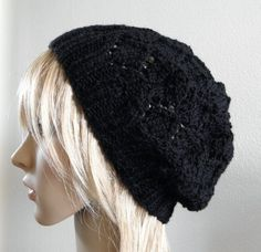 Hand knit hat lacy beret slouchy hat in solid black wool by baboom (Accessories, Hat, Knit, tam, women, lady woman teen, beret slouch slouchy, openwork lace lacy, warm winter autumn, fall soft fashion, hand knit knitted, black dark night, onix wool woolly, handknitted, hand knit hat, black knit hat)