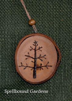 Handmade Rustic Wood Burn Twig Tree Christmas Holiday Wood Slice Tree Ornament #Handmade