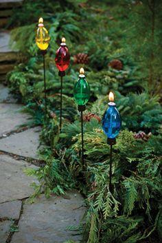 Christmas Garden Decorations - Christmas Bulb Lanterns