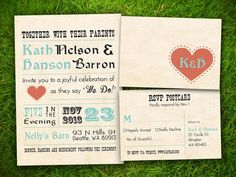 Wedding Invitation and RSVP Card Suite - Vintage Rustic Heart Turquoise Customizable Double Sided Print by Vintage Bells And Co.