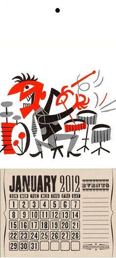 Boogie-Beat Drummer calendar with Jim Flora illustration