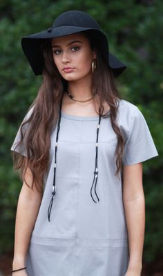 Floppy Felt hat and Gold Bar Leather Wrap Choker Necklace from Cousin Couture.