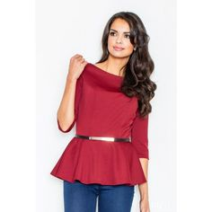 This Deep Red Belt Peplum Top is perfect! Peplum Tops, Red Belt, Blouse Models, Lingerie, Skater Dress, Pleated Skirt, Blouses For Women, Heather Grey, Ideias Fashion