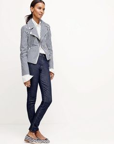 J.Crew women's motorcycle jacket in gingham, Thomas Mason® for J.Crew boy shirt, lookout high-rise jean in Resin wash and Kiki ballet flats in gingham.