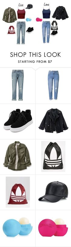 """""""Lisa and Lena"""" by tery-horska ❤ liked on Polyvore featuring Current/Elliott, WithChic, L.L.Bean, adidas, Eos and plus size clothing"""