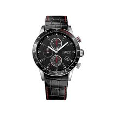A sophisticated, sports inspired timepiece from the must have Hugo Boss timepiece collection. Featuring a chronograph dial with vibrant red accents, stainless steel case and black leather strap. Hugo Boss Watches, Gents Watches, Watches For Men, Black Stainless Steel, Stainless Steel Watch, Daniel Wellington, Montres Hugo Boss, Herren Chronograph, Boss Black