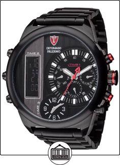 Detomaso Palermo XXL - Reloj de cuarzo para hombres, con correa de acero inoxidable de color negro, esfera negra de  ✿ Relojes para hombre - (Gama media/alta) ✿
