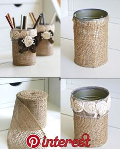 tin can crafts, two tin cans wrapped in burlap, decorated with fabric roses and … - DIY Ideen Tin Can Crafts, Diy Home Crafts, Creative Crafts, Diy Crafts To Sell, Crafts With Tin Cans, Home Craft Ideas, Sell Diy, Upcycled Crafts, Decor Crafts
