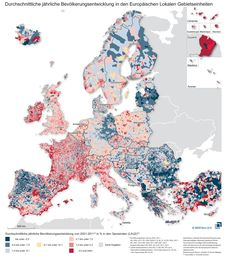 An Incredibly Detailed Map Shows Europe's Population Shifts From 2001 to 2011 - CityLab || red = population increase, blue = population decrease || by Germany's BBSR, the country's Federal Institute for Research on Building, Urban Affairs, & Spatial Development.