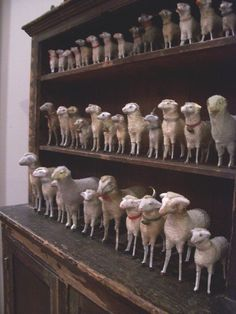 Antique wooly Putz sheep collection.