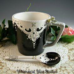 Whimsical Bliss Studios - Black & Gray Handkerchief Spoon & Mug Set
