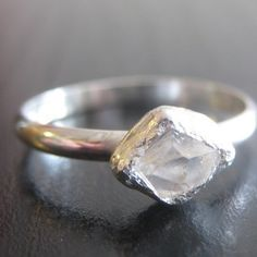 uncut diamond and sterling silver