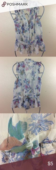 dmbm Floral Sleeveless blouse Has 1 tear on the back. otherwise this is a beautiful Sleeveless floral blouse! dmbm Tops Blouses