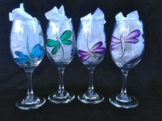 Hand Painted Dragonfly Wine Glasses