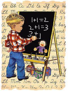 Back to School Graphics Images Vintage, Vintage Pictures, Vintage Greeting Cards, Vintage Postcards, School Clipart, School Daze, Vintage School, Children Images, Vintage Children's Books