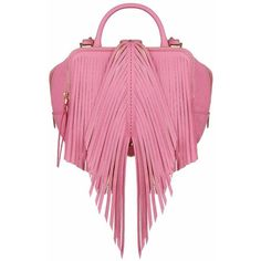 The Volon Shu-shu Pink Fringe Small Handbag ($878) ❤ liked on Polyvore featuring bags, handbags, shoulder bags, pink, pink purse, handbags shoulder bags, fringe shoulder bag, leather man bags and pink shoulder bag