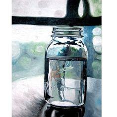 I love mason jars! Ball Mason Jars, Mason Jar Art, Easy Watercolor, Watercolor Paintings, Watercolor Techniques, Watercolour, Large Painting, Life Kitchen, Kitchen Decor