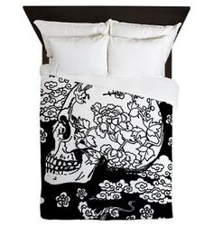 Skull With Blossoms Queen Duvet Cover