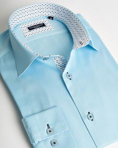 Franck Michel shirt | Turquoise italian shirt for men with white contrasting lines plus dots | fashion-shirts.com