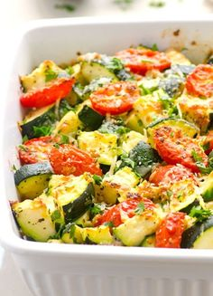 Low fat, quick and healthy zucchini casserole. 5 minutes of prep time and dinner is served! This would be really yummy with black beans!