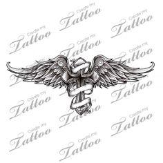 Marketplace Tattoo Winged Cross and Banner #9476 | CreateMyTattoo.com