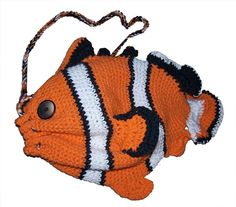 Clownfish+Drawstring+Bag++Crochet+Pattern+by+ouidamac+on+Etsy,+$5.00