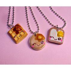 cute best friend jewelry   Best Friends Necklaces BFF Breakfast Necklace Waffle Pancake Toast Kaw ...