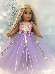 "American Girl Doll Rapunzel Inspired Beautiful Tutu Dress fits all 18"" dolls"