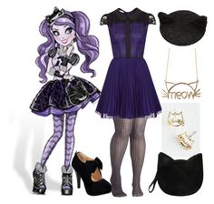 """""""Ever After High Everyday: Kitty Cheshire"""" by becka-ramey ❤ liked on Polyvore featuring Look From London, Topshop and Forever 21"""