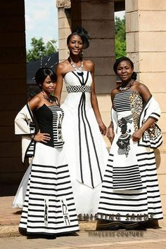 Shifting Sands African Couture Xhosa inspired white and black bridesmaids dresses African Wedding Attire, African Attire, African Wear, African Women, African Traditional Wedding, African Traditional Dresses, Traditional Wedding Dresses, African Inspired Fashion, African Print Fashion