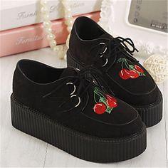 Chaussures Femme - Décontracté - Noir - Plateforme - Creepers / Bout Arrondi - Richelieu - Similicuir de 2015 à €26.59