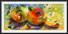 """""""Apples  Bees Watercolor painting by Ginette"""" by Ginette Callaway, Lovejoy // I painted a whole series of small paintings that I scanned at very high resolution. The originals have all sold. They are now available as prints up to very large on paper or canvas. These fruit and vegetable images would be great for a modern or traditional restaurant. // Imagekind.com -- Buy stunning fine art prints, framed prints and canvas prints directly from independent working artists and photographers."""