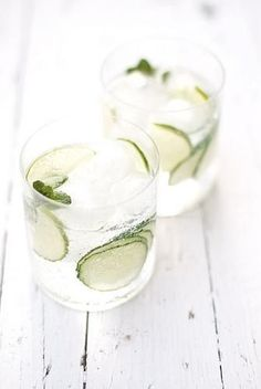 cucumber, lime, and mint