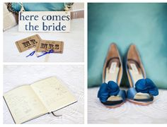 """Simply elegant blue shoes with """"Here Comes the Bride"""" sign which the ring bearer carried to begin the ceremony."""