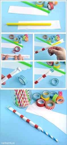 Straw Shooter Using washi tape, straw, and paper!  Great boredom buster craft idea!