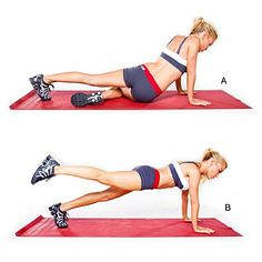 Get a Flat Belly in 4 Weeks Hip dip plank  Start in plank; tuck right knee into chest. Rotate waist so that outer side of right hip and thigh are facing ground. Lower body until you are sitting on right hip (A). Lift body back up to plank, then raise and extend right leg (B). Return to start. Do 30 to 40 reps; repeat on other side.