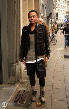 Military jacket, black and grey