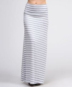 Take a look at this White & Gray Stripe Maxi Skirt by BOLD & BEAUTIFUL on #zulily today!